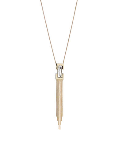 Expression Stone Tassle Pendant Necklace-GOLD-One Size
