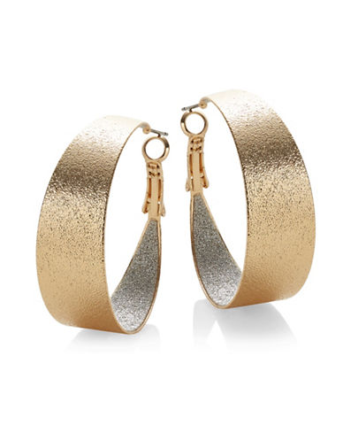 Expression Sandblast Hoop Earrings-GOLD-One Size
