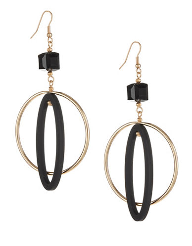 Expression Inner Oval Hoop Drop Earrings-BLACK-One Size
