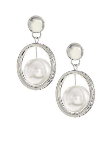 Expression Imitation Pearl Drop Frame Earrings-WHITE-One Size