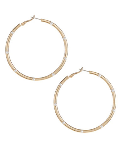 Expression Faux-Pearl Accent Hoop Earrings-WHITE-One Size