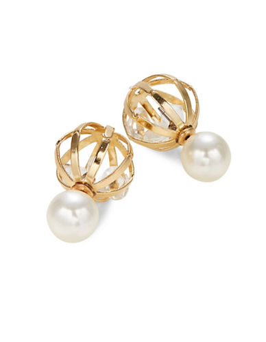Expression Pearl Front-to-Back Earrings with Caged Stones-WHITE-One Size