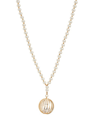 Expression Cage Pendant Faux-Pearl Necklace-WHITE-One Size