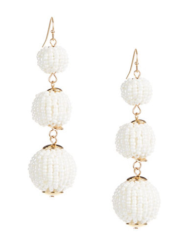 Expression Faux Pearl Beads Three Multi Seed Drop Earrings-WHITE-One Size