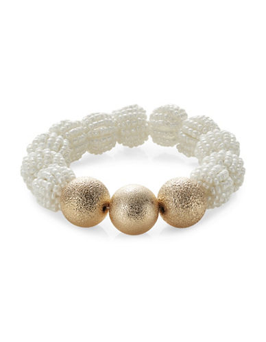Expression Faux Pearl Beads Sandblast Bracelet-WHITE/GOLD-One Size