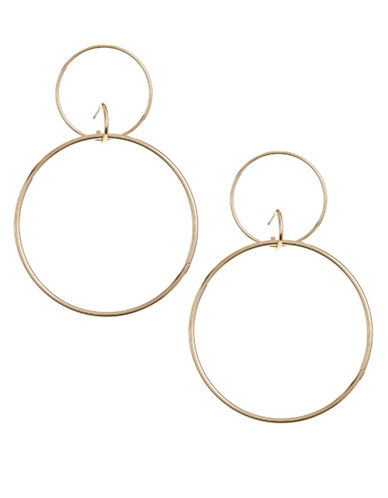 Design Lab Lord & Taylor Double Cut-Out Drop Earrings-GOLD-One Size
