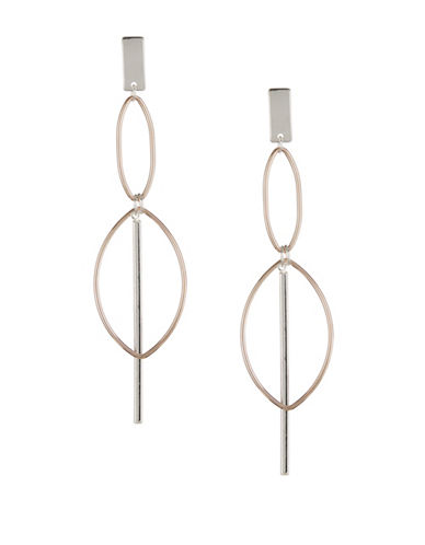 Design Lab Lord & Taylor Crystal Cutout Oval Linear Drop Earrings-TWO TONE-One Size