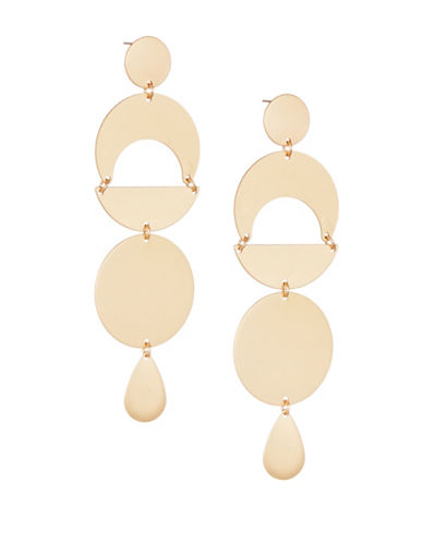 Design Lab Lord & Taylor Matte Geo Drop Earrings-GOLD-One Size