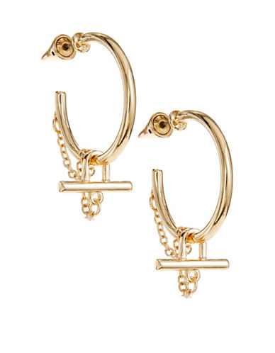 Design Lab Lord & Taylor Goldtone Hoop and Chain Drop Earrings-GOLD-One Size