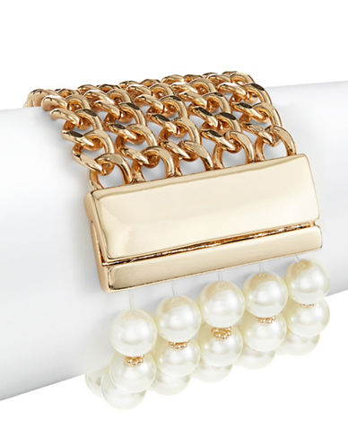 Design Lab Lord & Taylor Faux Pearl and Goldtone Chain Bracelet-WHITE-One Size