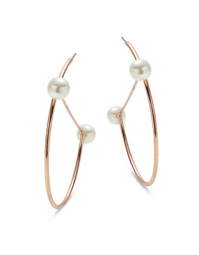 Design Lab Lord & Taylor Faux Pearl and Half Hoop Earrings-WHITE-One Size