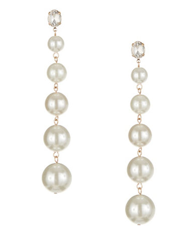 Design Lab Lord & Taylor Graduated Faux Pearl Drop Earrings-WHITE-One Size