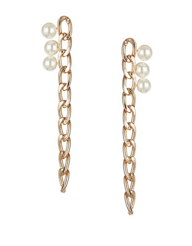 Design Lab Lord & Taylor Goldtone Link and Faux Pearl Earrings-WHITE-One Size