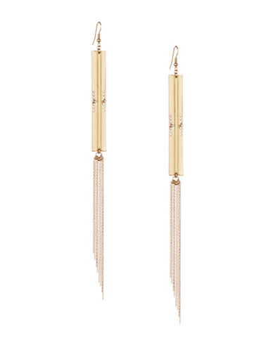 Design Lab Lord & Taylor Glass Stud with Tassel Drop Earrings-GOLD-One Size