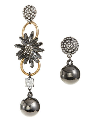 Design Lab Lord & Taylor Mismatch Pave and Ball Drop Earrings-GREY-One Size
