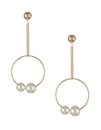 Design Lab Lord & Taylor Faux Pearl and Hoop Drop Earrings-WHITE-One Size
