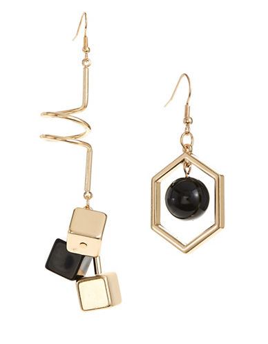 Design Lab Lord & Taylor Mismatch Hexagon and Spiral Goldtone Earrings-BLACK-One Size