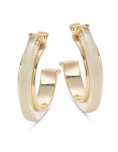 Design Lab Lord & Taylor Transparent and Goldtone Hoop Earrings-GOLD-One Size
