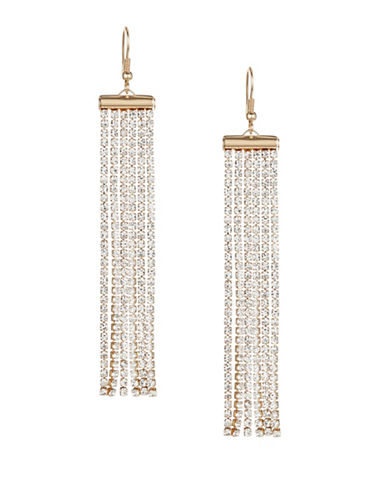 Expression Rhinestone Chain Drop Earrings-GOLD-One Size