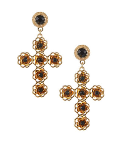 Expression Crystal Flowers on Cross Drop Earrings-BLACK-One Size