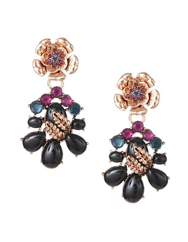 Expression Leaf and Flower Statement Earrings-BLACK-One Size