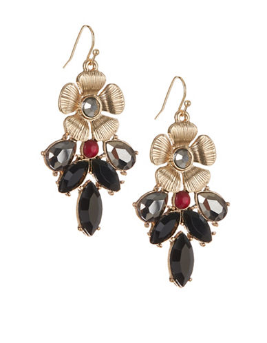 Expression Textured Flower Navettes Drop Earrings-BLACK-One Size
