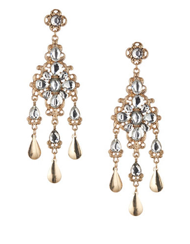 Expression Crystal Dangly Tear Drop Chandelier Earrings-WHITE-One Size