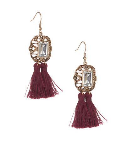 Expression Crystal Tassels Drop Earrings-RED-One Size