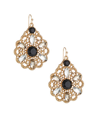 Expression Crystal  Filigree Drop Earrings-BLACK-One Size