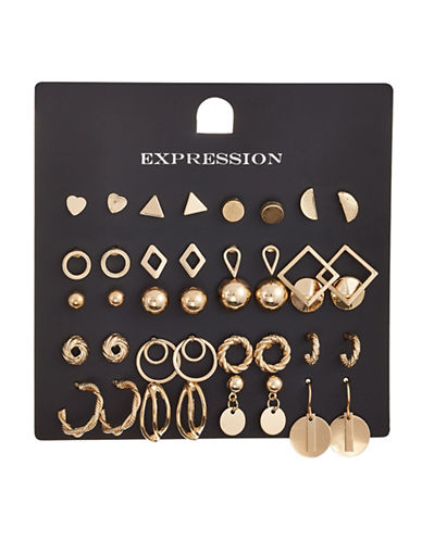 Expression 20-Piece Crystal Heart and Half Moon Disc Earrings Set-GOLD-One Size