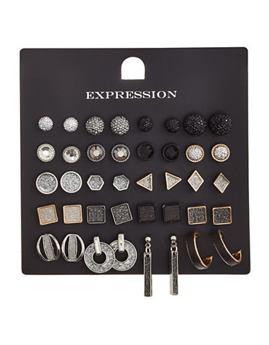 Expression 20-Piece Crystal Pavé Ball Glitter Triangle Square Hoop Earrings Set-BLACK-One Size