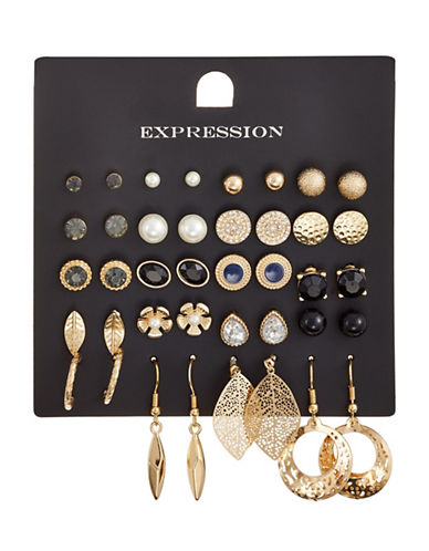 Expression 20-Piece Crystal and Pearl Stud Flower Leaf Earrings Set-ASSORTED-One Size