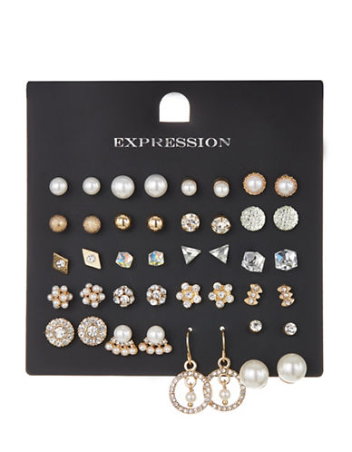 Expression 20-Piece Crystal and Faux Pearl Triangle Cube Flower Earrings Set-GOLD-One Size