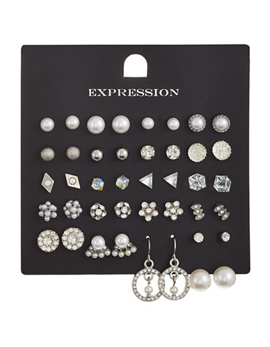 Expression 20-Piece Crystal and Faux Pearl Triangle Cube Flower Earrings Set-SILVER-One Size