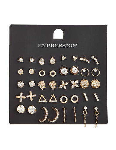 Expression 20-Piece Crystal Triangle Open Hoop Earrings Set-GOLD-One Size