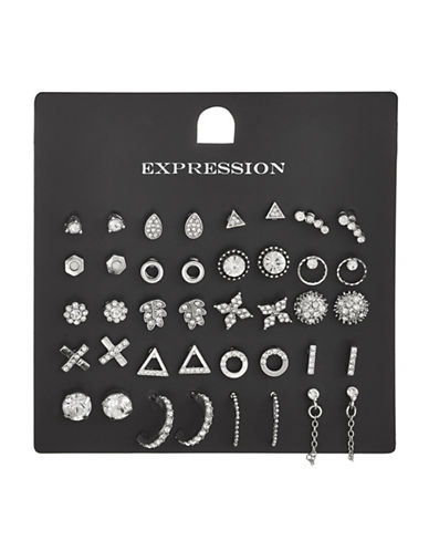 Expression 20-Piece Crystal Triangle Open Hoop Earrings Set-SILVER-One Size
