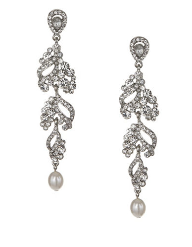 Expression Crystal and Pearl Teardrop Shape Drop Earrings-SILVER-One Size