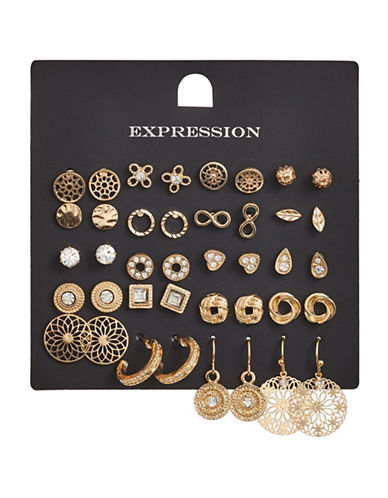Expression 20-Piece Crystal Infinity Stud Leaf Earrings Set-GOLD-One Size