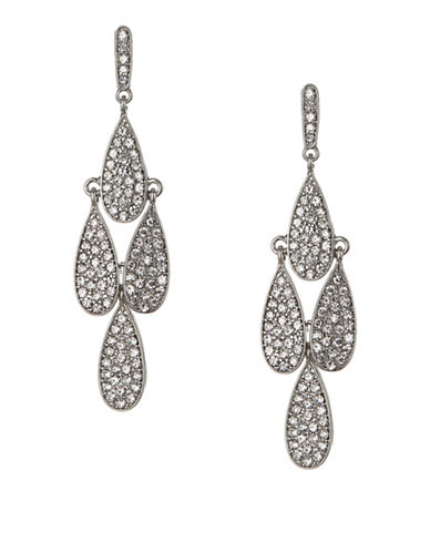 Expression Crystal Four Pavé Tear Drop Chandelier Earrings-SILVER-One Size