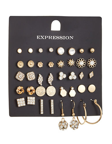 Expression 20-Piece Crystal Disc Hoop Earrings Set-GOLD-One Size