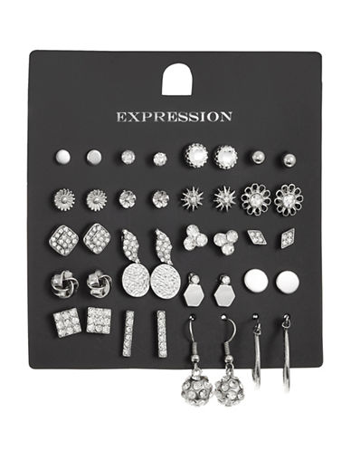 Expression 20-Piece Crystal Disc Hoop Earrings Set-SILVER-One Size