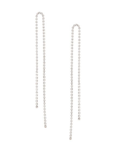 Expression Crystal Two Cup Chain Drop Earrings-SILVER-One Size