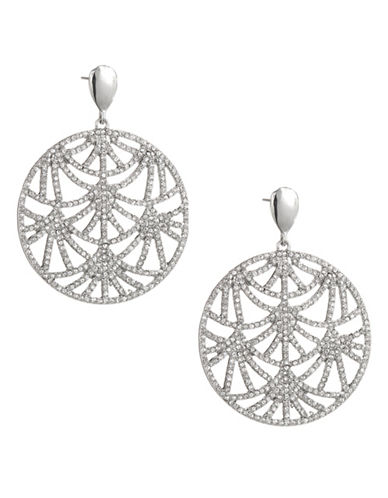 Expression Filigree Pavé Disc Drop Earrings-SILVER-One Size