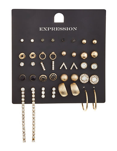 Expression 20-Piece Crystal Sandblast Earrings Set-GOLD-One Size