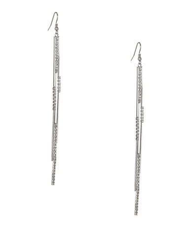 Expression Crystal Bars Cup Chain Drop Earrings-SILVER-One Size