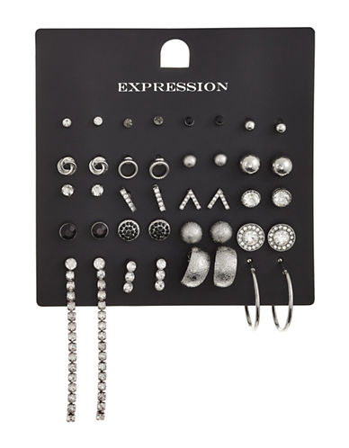 Expression 20-Piece Crystal Sandblast Earrings Set-SILVER-One Size