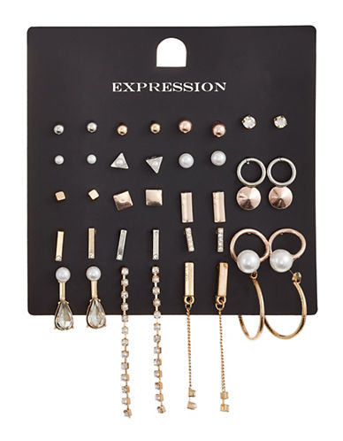 Expression Twenty-Piece Stud Earrings Pack-GOLD-One Size