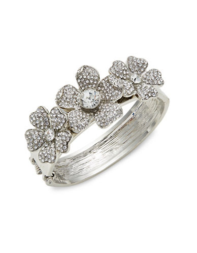 Expression Crystal Three Flowers Cuff Bracelet-SILVER-One Size