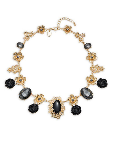 Expression Crystal Rose Faceted Statement Necklace-BLACK-One Size