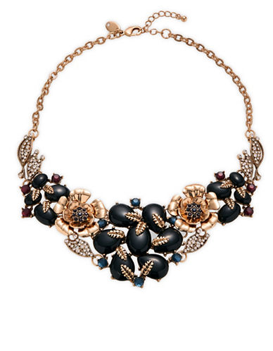 Expression Crystal Tear Drop Statement Necklace-BLACK-One Size